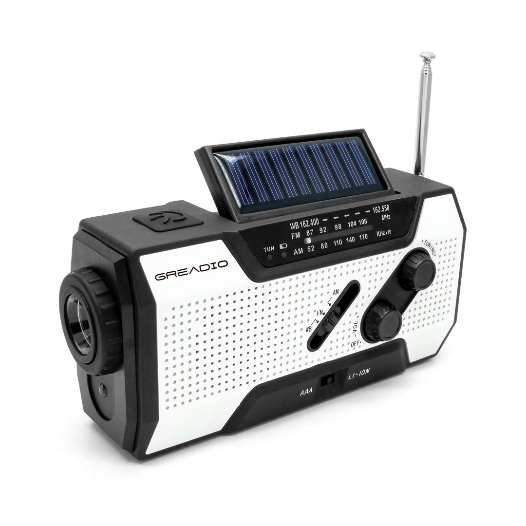 Radio de Emergencia GREADIO – Emergency Weather Solar Crank AM/FM NOAA Radio with Portable 2000mAh Power Bank