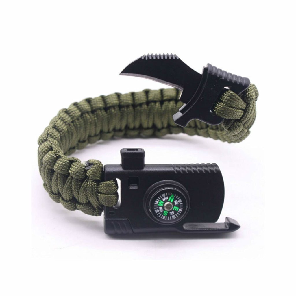 Brazalete de paracord con mini cuchillo – Camping Paracord Survival Bracelet Kit 500 LB – Outdoor Hiking Travelling Hunting Gear – Emergency Tactical Parachute Rope Bracelet – Compass, Fire Starter, Knife, Whistle – Military