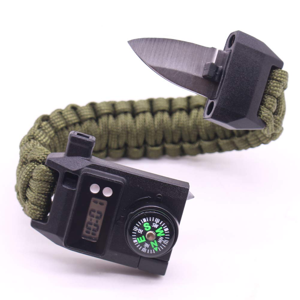 Brazalete de supervivencia con cuchillo incorporado, RoJuicy Protection Paracord Bracelet